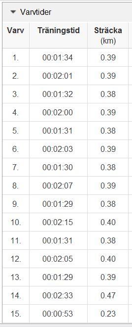 backlöpning 9.5 varv 1-15