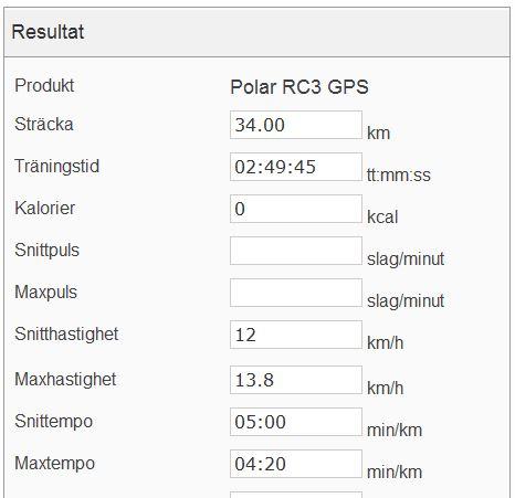 Långpass 4.8 träningsdata