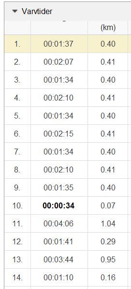 backlöpning 29.8 varv 1-14