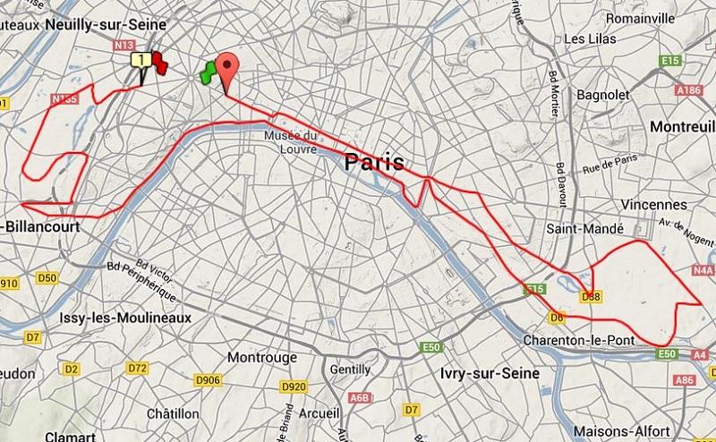 Analys av Paris Marathon karta