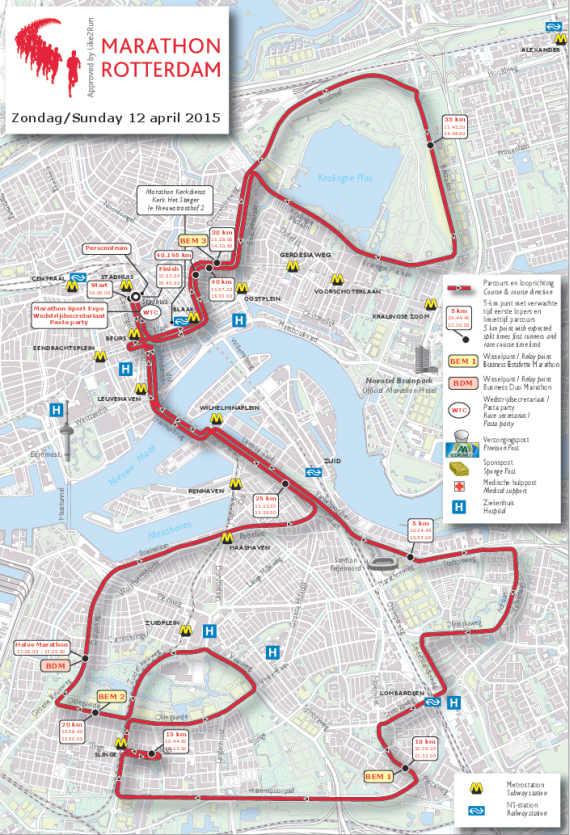 Maratonrutt Rotterdam maraton 2015